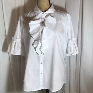 🆕 Karl Lagerfeld White Ruffle Blouse Poet Pirate
